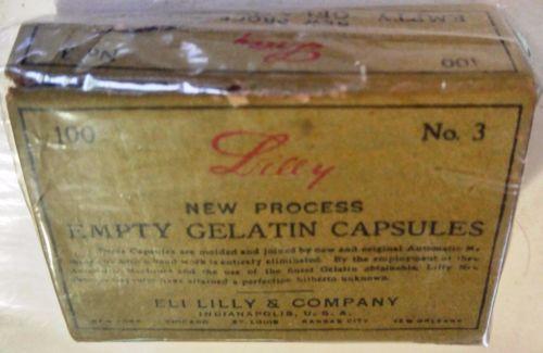 VTG-Eli-Lilly-Empty-Gelatin-Capsules-Box-No-3-Apothecary-Pharmacy-Drugstore-Box