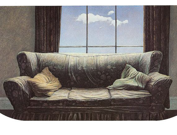 In 1975 we moved to England for a year, and my parents Tom & Natalie Forrestall rented an apartment in London. This couch was in that apt. The sky and cloud are fictional. London Apartment Tom Forrestall Vintage / by HeatherwoodArtPrints, $10.00