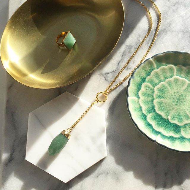 Janna Conner Aventurine Laela Y Necklace and Ayaan pyramid statement ring. Made in LA.