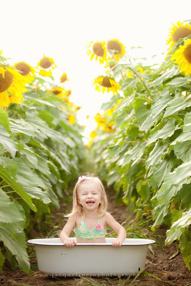 Sunflower Field Photography Vintage Bath Tub Sisters