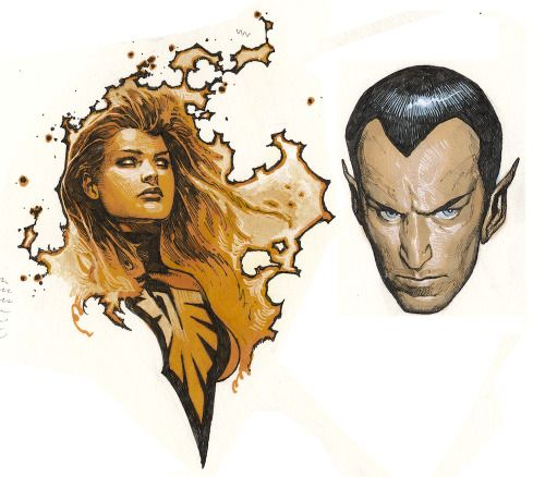 Phoenix and Namor by Travis Charest
