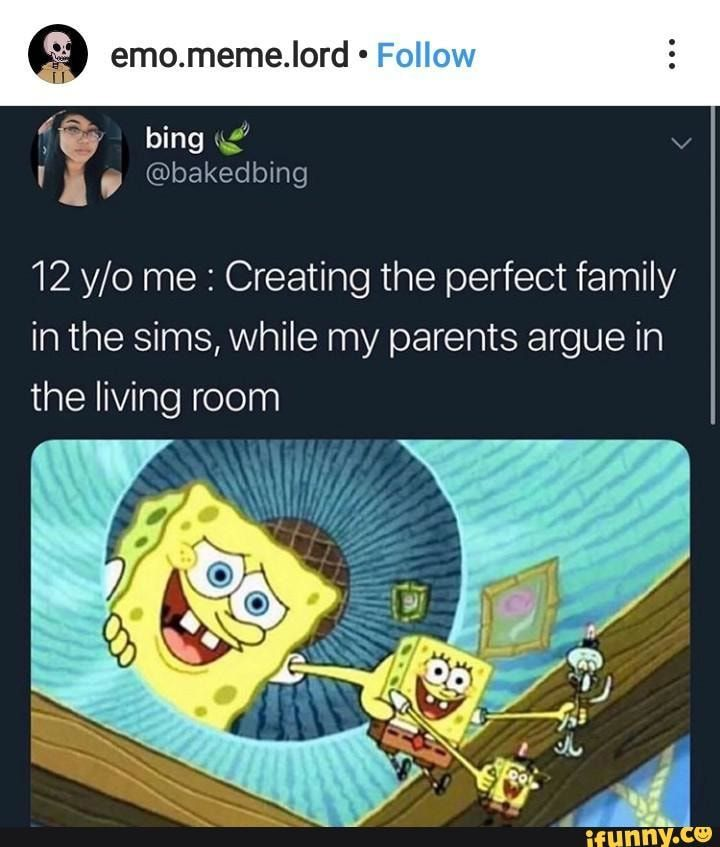 12 Y O Me Creating The Perfect Family In The Sims While My Parents Argue In The Living Room Ifunny Sims Memes Sims Funny Stupid Funny Memes