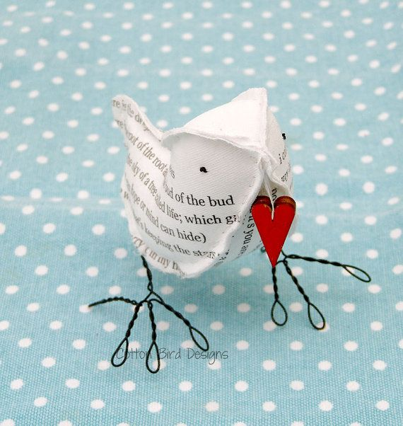 Bird Poem I carry your heart with me EE Cummings carrying a red heart    Bird Colour, ivory as shown or choose using the drop down menu    This