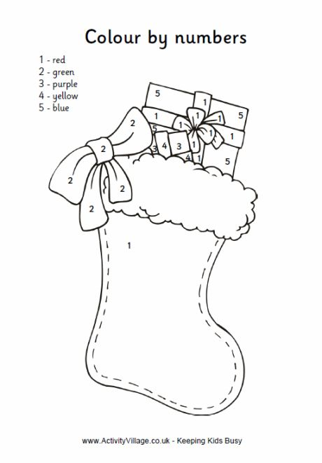 Christmas stocking colour by numbers