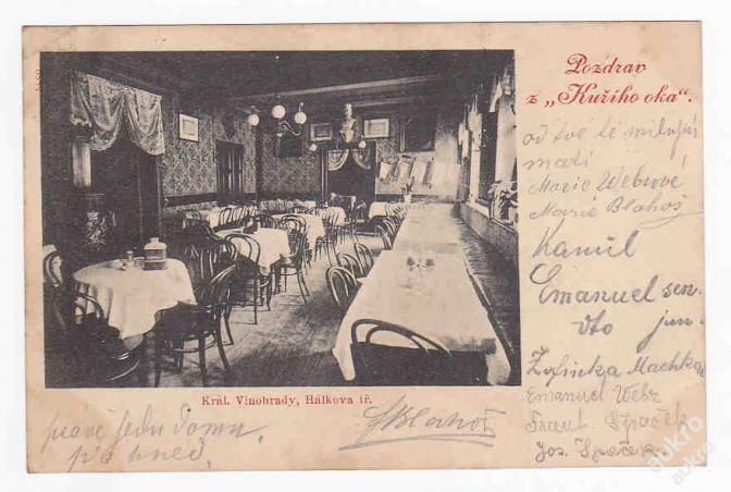 Praha Vinohrady restaurace Kuří oko interier