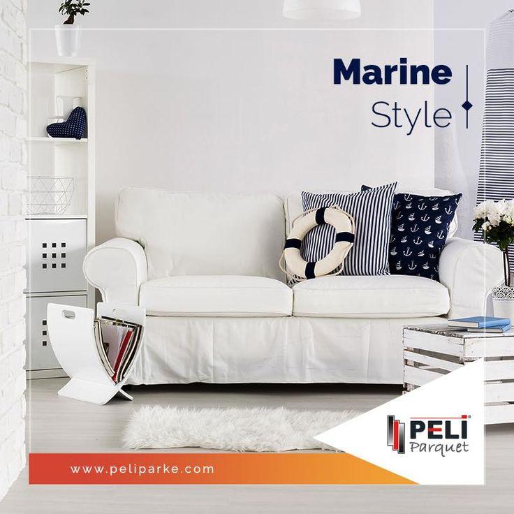 Lacivert ve beyaz yanyana geldiğinde aklına denizciler gelenler için, Marine Stil! Enine beyaz-lacivert çizgiler, lacivert mobilyalar ve vitange bir hava katan pötikare desenler ile bu stili kullanabilirsiniz! Parke önerisi; Loft Istıranca Meşe