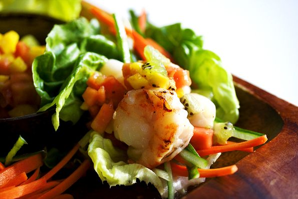 Tropical Salsa and Grilled Shrimp Lettuce Cups look so light and tasty and fresh.