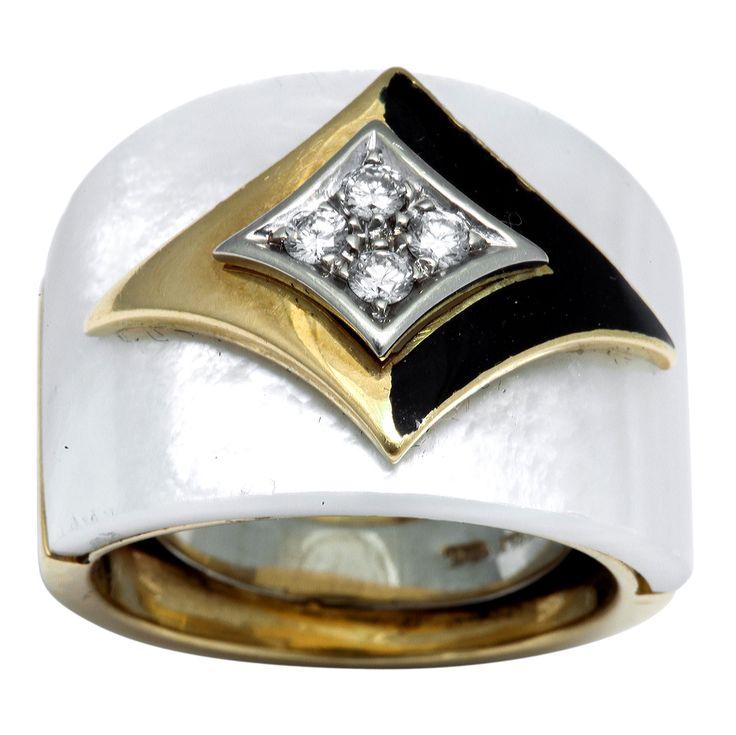 Van Cleef And Arpels Mother Of Pearl Diamond Enamel Ring