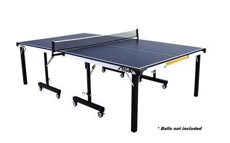 """T8522 STS 285 Tournament Blue Top Foldable Table Tennis Table with 3D Corner Protector STIGA 72"""" Pivoting Net and Post System"""