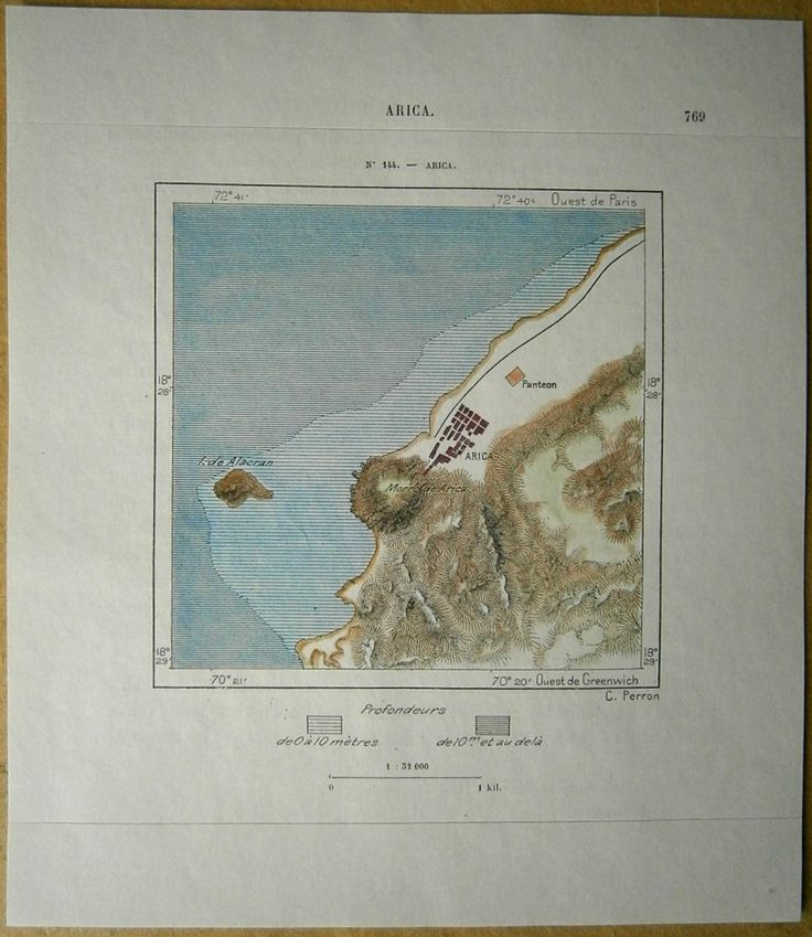 Nice map titled Arica, from wood engraving with fine detail and clear impression, nice hand coloring. Overall size approx. 18.5 x 16 cm, image size approx. 9.5 x 9.5 cm. From La Nouvelle Géographie universelle, la terre et les hommes, 19 vol. (1875-94), great work of Elisee Reclus. Cartographer is Charles Perron.