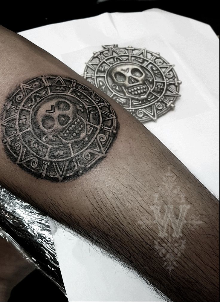Aztec Medallion from Pirates of the Caribbean @winonataylortattoos #tattoo #pirate #tattooidea