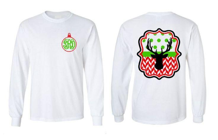 Monogram Christmas Shirt, Christmas Shirts, Monogrammed Long Sleeve Christmas Shirt, Girl's and Women's Monogrammed Christmas Shirts by PoshBoutiqueGa on Etsy
