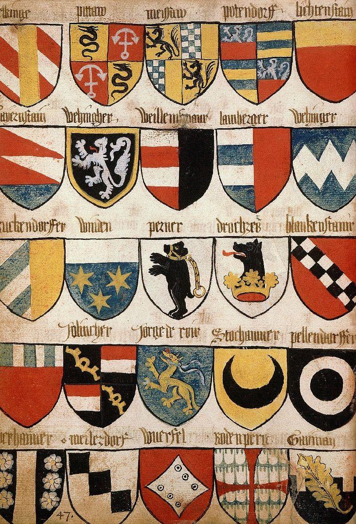 Armoiries de la marche d'Autriche et possessions de la Maison de Habsbourg, Grand Armorial équestre de la Toison d'Or, Flandres, 1430-1461.