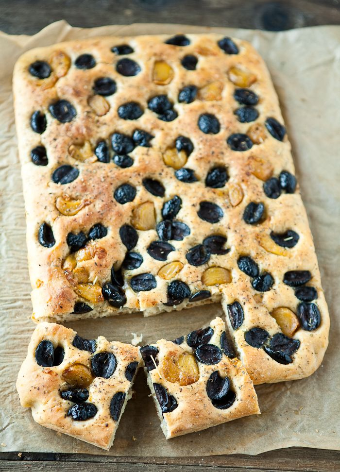 Roasted Garlic and Olive Focaccia by EclecticRecipes.com #recipe # ...