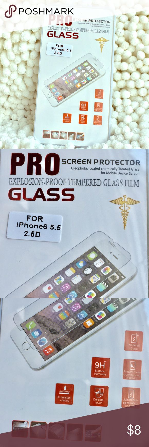 iPhone 6/6s/7/8 Plus Tempered Screen Protector COMPARE PRICES!! THIS IS AN UNBELIEVABLE OFFER!! Premium quality tempered glass screen protector. Top of the line surface hardness. Protects your phone's glass from scratches and bumps. Designed to absorb impact, a must for all iPhone users. Pls check proper fit in my last pic. Bundle with a card case in your favorite color. NO OFFERS ON THIS ITEM PLS. Price is firm! iPhone Accessories Phone Cases