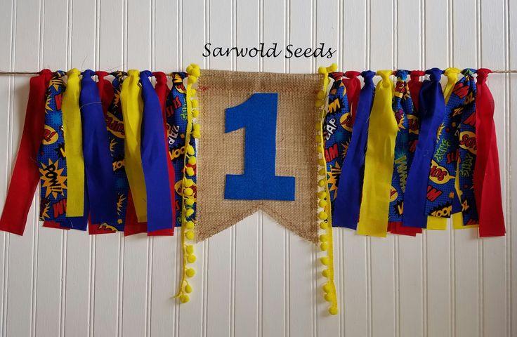 Superhero Fabric Banner, Birthday, Highchair, Cake Smash, Photo Shoot by SarwoldSeeds on Etsy