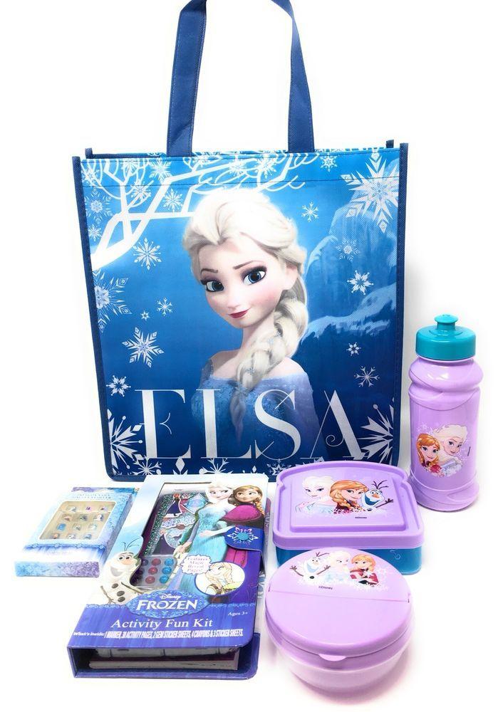Disney Frozen 3 Piece Plastic Dinnerware Set Purple Anna Elsa Plus 3 Bonus Items #Disney