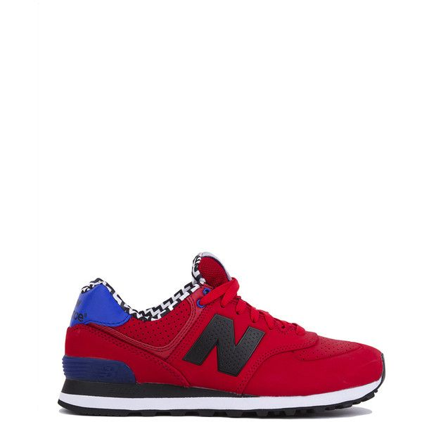 new balance shoes red and blue. new balance 574 paint chip sneaker - red (£57) ❤ liked on polyvore shoes and blue n