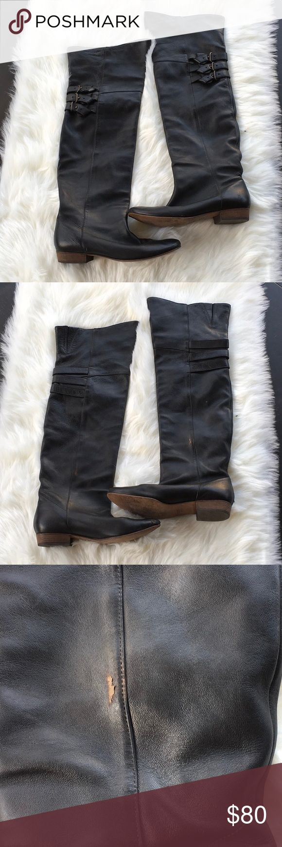 """Joie Leather Strapped Back Over the Knee Boots Joie Leather Strapped Back Over the Knee Boots The length is approx 21"""" These is minor damages as pictured. Joie Shoes Over the Knee Boots"""