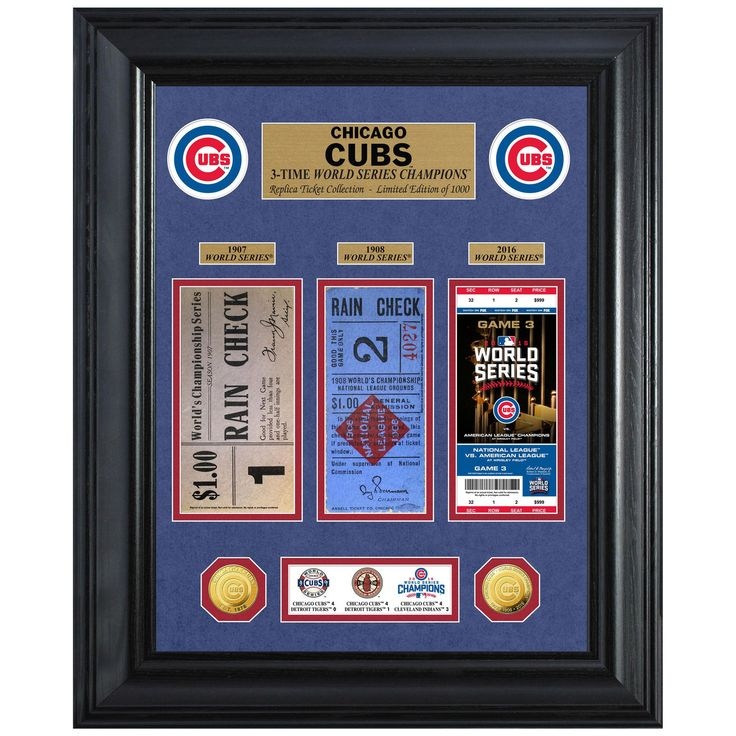 """Chicago Cubs Highland Mint 18"""" x 22"""" 3-Time World Series Champions Deluxe Coin & Ticket Collection Photo Mint"""