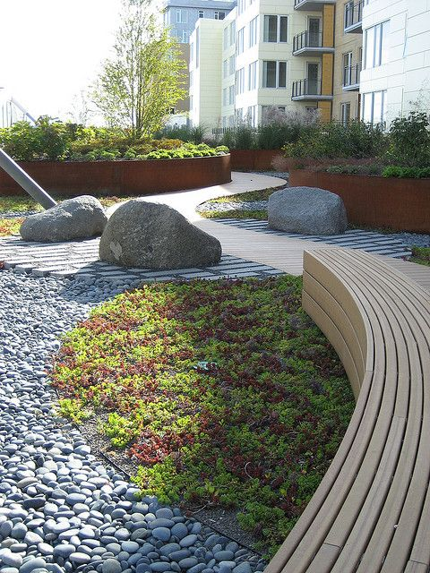 A roof garden with weathering steel (by lauraknosp)