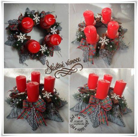1.adventní hvězda šedo-červená