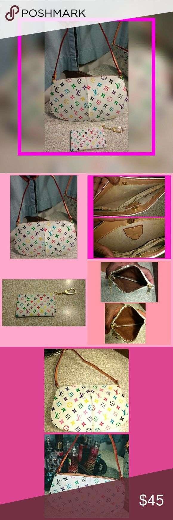 """Louis Vuitton pastel purse & wallet Price reflects If you don't like the listing, LEAVE!  PURSE: -magnetic snap closure -split compartments (2 & and a middle zippered compartment) -17"""" shoulder strap -light markings (see pic #5) -11"""" x 7""""  WALLET: -top zip closure -keychain attachment (gets stuck a little, must push up/in to open) -5"""" x 3""""  Both feature the pastel LV print with gold tone hardware Purchased in NYC Louis Vuitton Bags"""