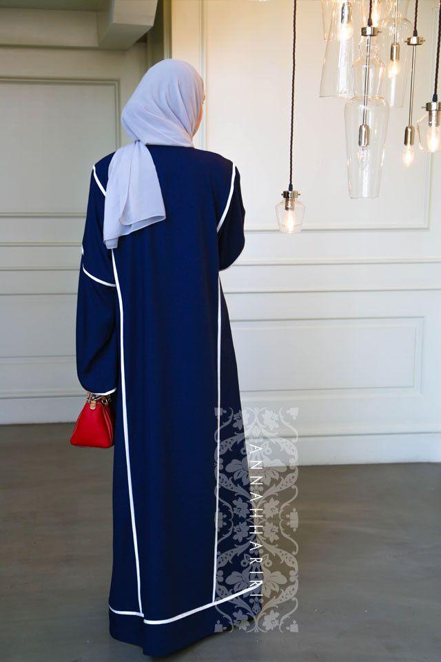 Sport dark blue abaya by ANNAH HARIRI – هنا حريري