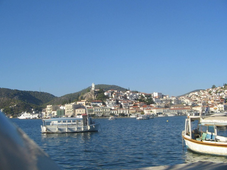 Island of Poros, Greece, view from mainland Peloponnese