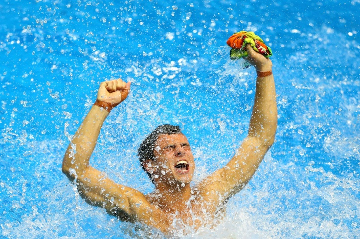 Day fifteen: Tom Daley of Team GB celebrates finishing third in the Men's 10m Platform Diving Final.