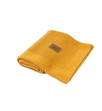 Kocyk tkany z bawełny organicznej Poofi miodowy