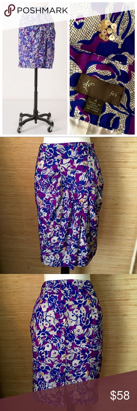 Fei for Anthro Silk Scattered Sequins Skirt Excellent condition! Cobalt, plum and black pattern with champagne sequins scattered here and there. Hard to see details include double button embellishment near waist and a diagonal gather seam across the front. Poly lined. Anthropologie Skirts