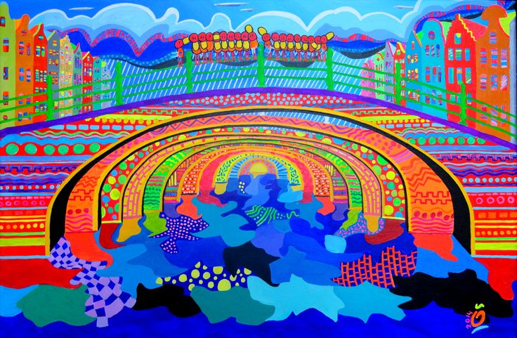 """ENERGETIC AMSTERDAM!  This painting shows a very vivid and colorful view of sunny & rainy Amsterdam. The happy style elements which I already created in """"Amsterdam Rooftop view"""" and """"The Golden Bend"""" are very dominant in this painting. Reason is the fact that I wanted to express the bright and festive atmosphere together with unsettled weather during August 2014. My goal was to create a painting that colors the mood of the viewer instantly. More info: jos@nosybirds.com"""