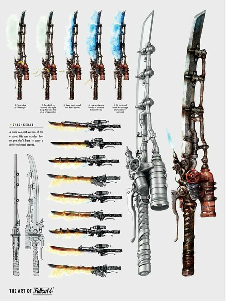 Of all the Melee weapons in the Fallout universe, the Shishkabab is perhaps by far the coolest. It's basically a refurbished katana outfitted with a small canister containing potent fuel, and multiple jets used to emit the blade with flames from the canister, adding fiery energy damage in addition to the blade's physical ballistic damage. It can be modded to have a few more flame jets to deal more energy damage. There is no need to search for fuel for this weapon, as has infinite supply.