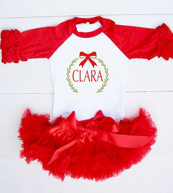 Personalized Christmas Outfit for Girls - Girl Christmas Outfit - Custom Shirt - Christmas Outfit for Toddler Girl- Christmas Raglan Shirt