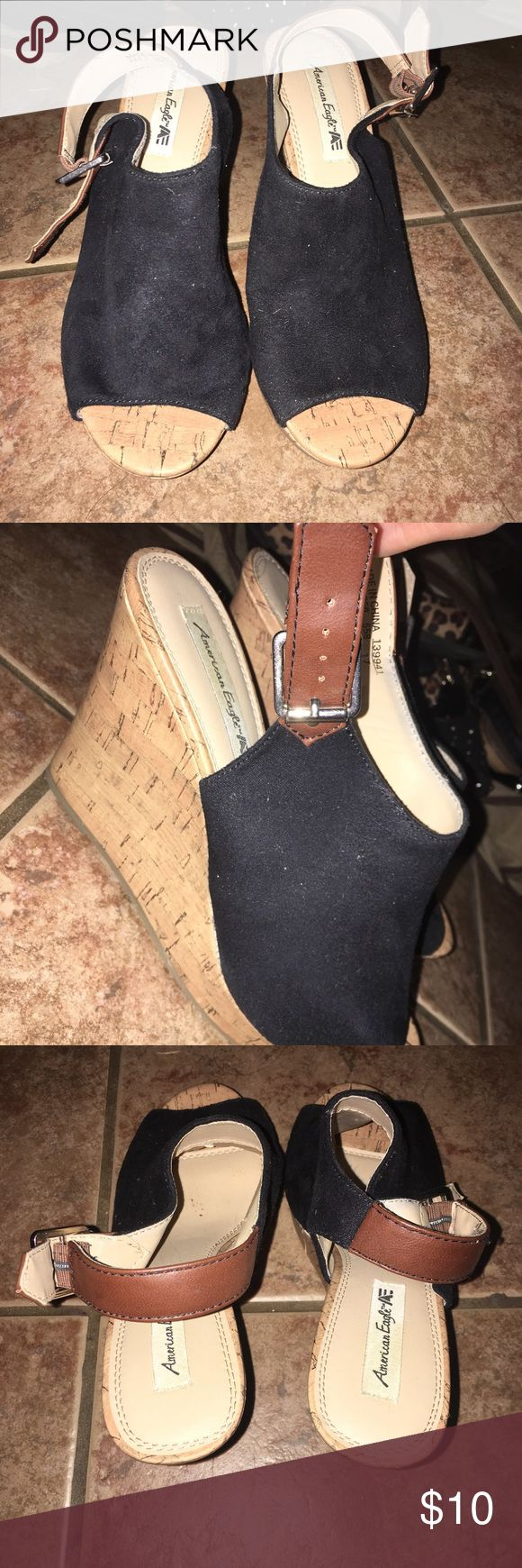 America Eagle (Payless) Wedge Heels Black sued Wedge heels 👠 super cute!! Like new worn a few times American Eagle by Payless Shoes Heels