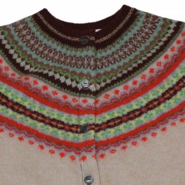 Eribe Ladies Ski 'Sunrise' Fairisle Lambswool Cardigan Made in Scotland