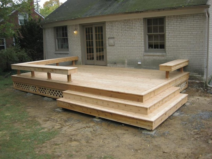 Perfect. Built in seating, simple, good looking. Could probably build this myself. Would use composite decking.