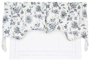 Winston Navy 70 x 28-Inch Two-Piece Lined Swag Valance - traditional - Valances - Bellacor