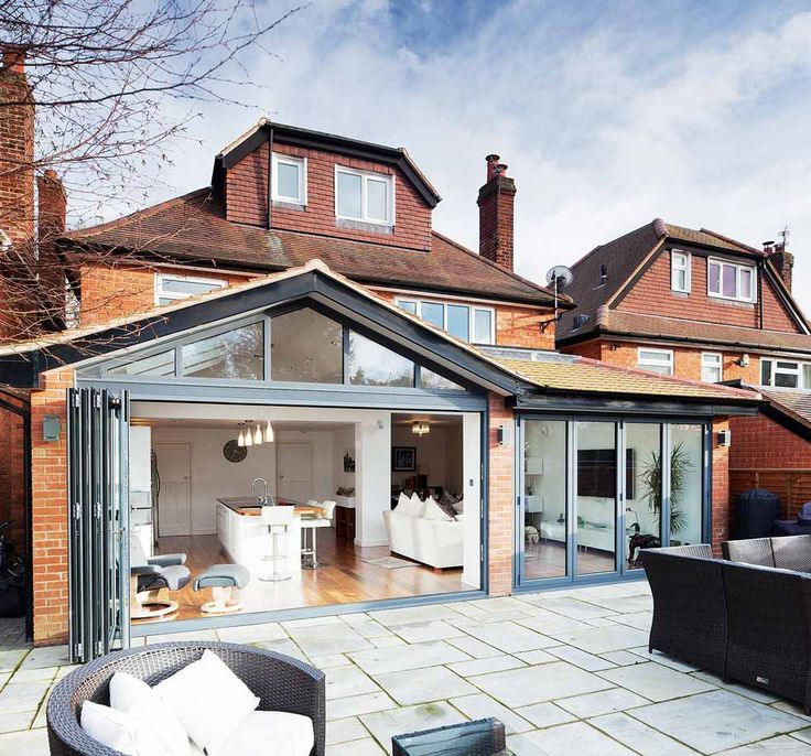 A glazed kitchen extension