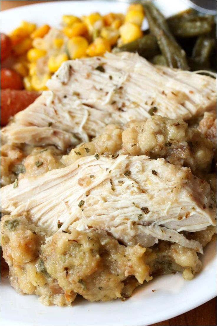 Crock Pot Chicken Stuffing. (This was SO GOOD and super fast to throw together in the crock pot)