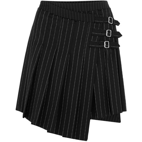 McQ Alexander McQueen Asymmetric pleated pinstriped woven mini skirt ($575) ❤ liked on Polyvore featuring skirts, mini skirts, black, asymmetrical short skirt, pleated miniskirt, panel skirt, woven skirt and pleated mini skirt