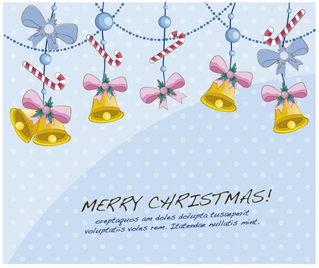 Free vector Christmas card with hanging bells #33785