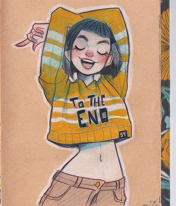 hime cut short hair arms up belly button smile eye closed