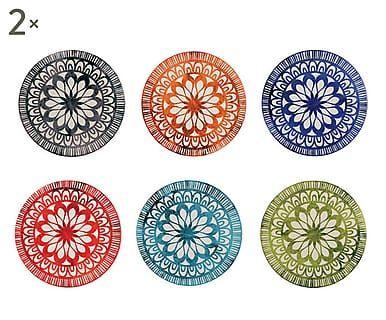 Set di 12 sottobicchieri in ceramica Mythos