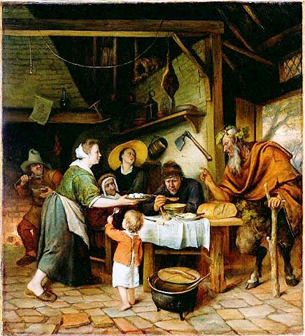 """Jan Steen's painting of """"The Satyr and the Peasant Family"""", c.1660, in the J.Paul Getty Museum Datec.1660  She's not cooking but is quite likely the cook"""