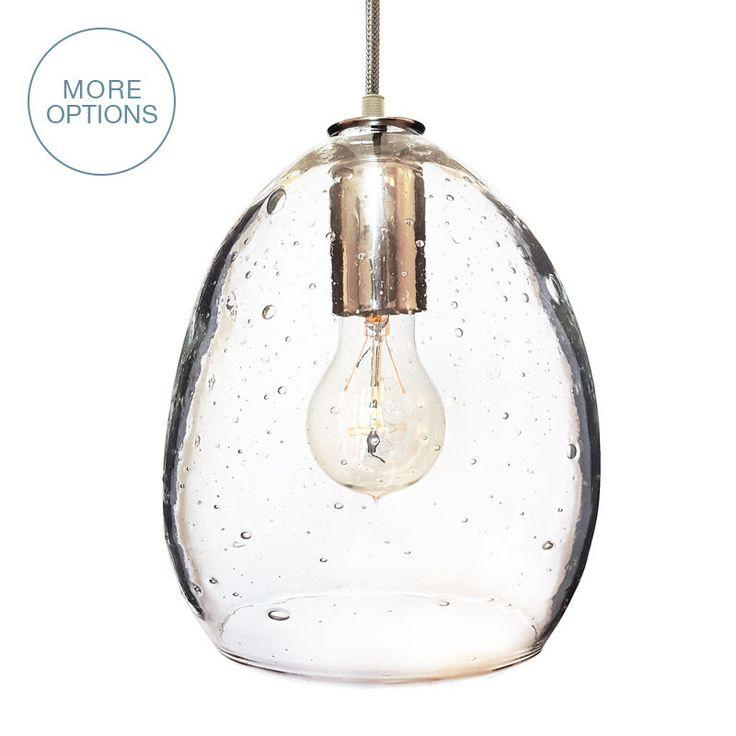Hand Blown Seeded Glass Pendant Light