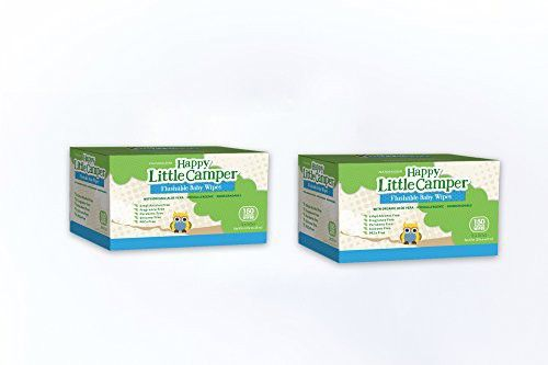Happy Little Camper Flushable Baby Wipes with Organic Aloe, Septic Safe, 2 Packs of 150 Count