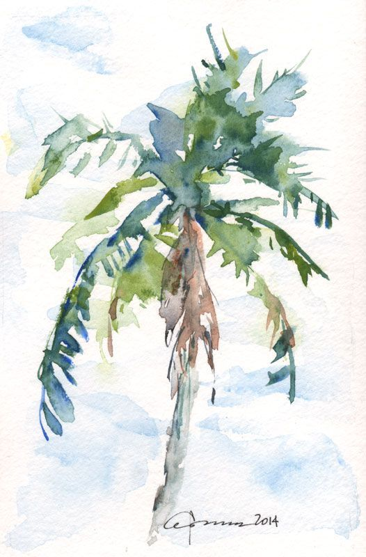 455 best watercolor trees images on pinterest watercolor for Painting palm trees