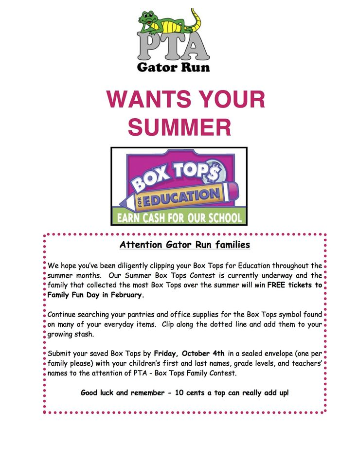 Great Back to school letter. Box Tops for education.